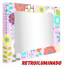 CCRETROILUMINADOS. Badspiegel mit beleuchtung Lila Kind (80_x_120_cm)