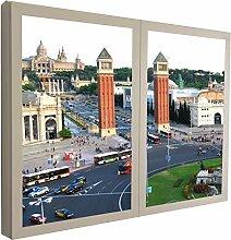 CCRETROILUMINADOS Montjuic Barcelona Fensterbild,