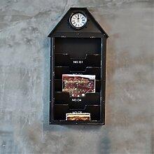 CCYYJJ Retro Wände Dekoration Wand Bar Cafe Wohnzimmer Schlafzimmer Eingang Balkon Wand Bücherregal Wanduhr (Farbe: Schwarz)