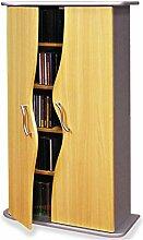 CD & DVD Blu Ray Regal WAVE, in buche, mit Türen und 4 Einlegeböden
