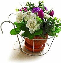 cdbl-Pflanze Regal Continental Eisen Geländer Blumen Racks, Hängende Orchideen Töpfe Regal, Windowsill Balkon Pflanze Rack Blumenregale ( Farbe : Weiß )