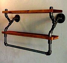 Cdbl-Wand Bücherregal American Loft Wasser Rohr Wand Kleiderständer / Eisen Kleidung Rack / Wand Bad Handtuchhalter / Massivholz Regale Regal Regal ( größe : L 64*w20*h40cm )