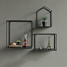 Cdbl-Wand Bücherregal Wand-Regal Retro-Industrie-Wind-Montage-Rahmen Wohnzimmer Kulisse Kreative dekorative Regal Regal