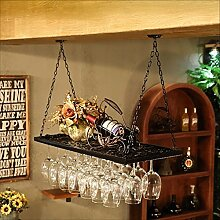 CDBL Wein Glashalter, Retro Wein Glas Rack Eisenkunst Weinglas Hanger Suspension Stemware Rack Weinglas Rack Stemware Stemware Racks (Farbe : Schwarz, größe : 60*31cm)
