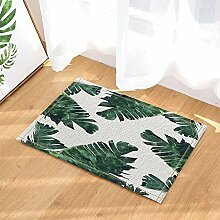 cdhbh Blätter Decor tropischen Regenwald Banana Leaf grün Pflanzen weiß Hintergrund Bad Teppiche rutschhemmend Fußmatte Boden Eingänge Innen vorne Tür Mat Kids 39,9x 59,9cm Badezimmer Zubehör