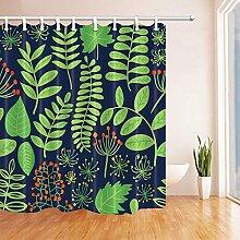 CDHBH Grün Pflanzen mit Rot Fruits Bad Vorhang