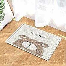 cdhbh mit niedlichen Bären, ohneBad-Teppich für Badezimmer, rutschfester Boden Entryways, Outdoor-Tür-Matte mit X-23.6in Badteppich Weiß llight braun