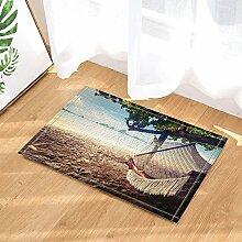 cdhbh Scenery Bad Teppiche Ocean Sunshine Beach Belle Hängematte Rutschfeste Fußmatte Boden Eingänge Innen Vorne Fußmatte Kinder Badematte 39,9x 59,9cm Badezimmer Zubehör