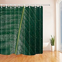 CDHBH tropischen Dschungel Pflanzen Decor Regenwasser auf Banana Leaves Duschvorhänge Polyester-Schimmelresistent-Badezimmer Dekorationen Haken enthalten 180,3x 180,3cm
