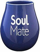 Cebador Mate-Becher Keramik Blau mit Logo Soul