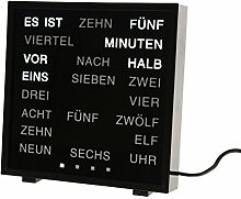 CEBEGO Wortuhr, Wanduhr schwarz Wörter statt Zahlen, mit Kühlmagnet,word clock, LED Wörter Uhr