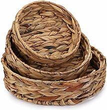 Cedilis 3 Stück Obsttablett Weben von Gras, runde