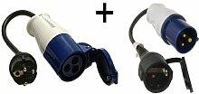 CEE Adapter auf Schukosteckdose + CEE Adapter auf Schukostecker 230 Volt 3-polig