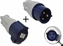 CEE Kupplung + CEE Stecker 3-polig 32 A - 230 V Spritzwasser geschütz