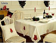 Celesta Tischdecke / Tischtuch mit weihnachtlichem Kerzen-Design (153 x 275 cm) (Creme)