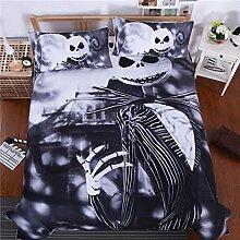 Celo Halloween Heimtextilien 3D Weinen Bettwäsche Bettdecke Bett Futter 3Sets 1Bettbezug 2Kissenbezüge, schwarz, Queen