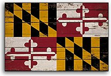 CELYCASY Maryland Holz-Flagge, rustikale Flaggen,