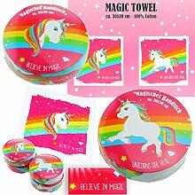 Cepewa 4X Magisches Handtuch Einhorn Pink