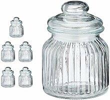 Cepewa 6er Set Bonboniere Vorratsdose Glas Rippe