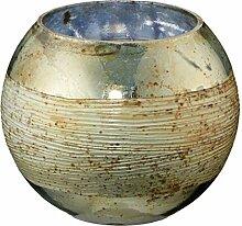 Cepewa Windlicht Teelicht Glas Gold Shabby Vintage