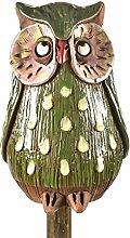 Ceramics World Gartendeko grüne Eule mit Tropfen auf einem Stock, mehrfarbig