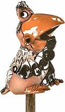 Ceramics World Gartendeko Krähe auf einem Stock, mehrfarbig