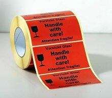 Certeo - HADE Warnetiketten - 1000 Stk je Rolle,