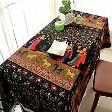 CFWL Baumwollleinen Kunst ethnische Tischdecke