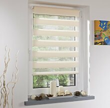 CG-Sonnenschutz Klemmfix Duo Rollo Mini in weiß, grau, apricot, natur oder anthrazit - bohrfreie Montage mit Klemmträgern (10 / apricot, 45cm x 160cm)