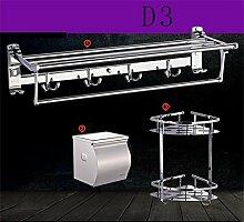 CH Gefaltete Handtuchhalter Handtuch Edelstahlbadezimmerregal Zubehör Regale Bad Bad Hardware Badezimmer Handtuchhalter ( farbe : D3 )