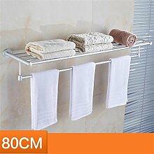 CH Raum Aluminium Handtuchhalter Bad Handtuchhalter Badezimmer Regal Bad Hardware-Zubehör verlängert Badezimmer Handtuchhalter ( größe : 80cm )