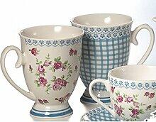 Cha Cult 2 Becher Henkelbecher für Tee oder Kaffee im entzückenden Dessin Rosen und Karo mit passender Spitzenbordüre in Schmuckkarton