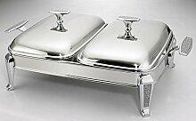 Chafing Dish mit 2 Behälter 5 tlg Speisewärmer Dishes Wärmebehälter für Haushal