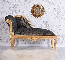 Chaiselongue Barock Ottomane Antik Sofa Gold Schwarz Liege Polsterbank Palazzo Exklusiv