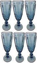 Champagneglas Vintage 6 Teile Set Schleife König Champagne Glas Gläser Weingläser Wasserglas Longdrinkglas (blau)