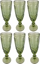 Champagneglas Vintage 6 Teile Set Schleife König Champagne Glas Gläser Weingläser Wasserglas Longdrinkglas (grün)