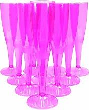 Champagnerflöten, Plastik, einteilig, hochwertiger Einwegartikel, 160 ml, Hot Pink, 30 Stück,  mit 4 xAIOS-Getränkeuntersetzern