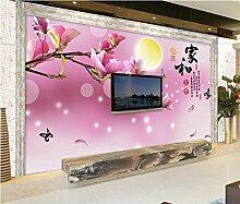 Chan-Mei 3D Wallpaper Benutzerdefinierte Wandbild Wand Aufkleber Haus Und Reichtum Und Ehre Magnolia Tv Einstellung Wand Tapeten Für Wände 3D Hintergrundbild Tapete Fresko Wandmalerei 350cmX300cm