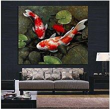 chaoaihekele Chinesische Koi Fisch Lotus Leinwand