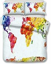 CHAOSE Gemalte Weltkarte Bettwäsche