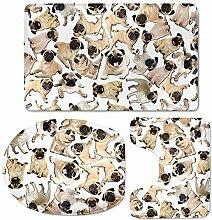 chaqlin Funny Animal Puzzle-Teppich Set 3Stück 3Stück rutschfest Bad Teppich U Form Contour Pad WC-Deckelbezug bulldog-3
