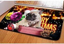 chaqlin Weihnachten Fashion klein Fußmatte rutschfest Badematte Boden Teppiche mops