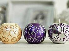 CHARLOTTE Kugel Kerze mit Spiegeleffekt wie Weihnachtskugel, Durchmesser 8cm, Brenndauer: 30h in verschiedenen Farbvarianten