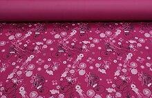 CHARMING - Grundton: pink - Taschenstoff - Tischdeckenstoff - abwaschbar - wasserdicht - Polyesterstoff - Stoff - Meterware