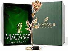 Charming Temptations Tischdekoration Rose, mit 24-karätigem Gold überzogen und geschliffenen hellen Matashi-Kristallen