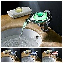 charmingwater zeitgen?ssische Farbwechsel LED Wasserfall Chrom Messing Waschbecken