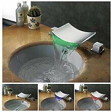 charmingwater Zeitgenössisch 3 Farbwechsel LED Wasserfall Chrom Messing Waschbecken Wasserhahn