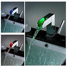 charmingwater Zeitgenössisch Farbwechsel LED Wasserfall Chrom Messing Waschbecken Wasserhahn