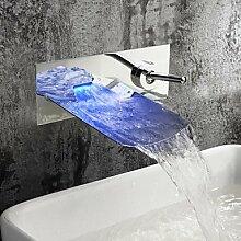 charmingwater zeitgenössische verchromt Farbwechsel LED Wasserfall Waschbecken Wasserhahn (Wandmontage)