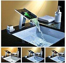 charmingwater? Zeitgenössischn drei Farbwechsel LED Wasserfall Messing verchromt Doppelgriff Waschbecken Wasserhahn